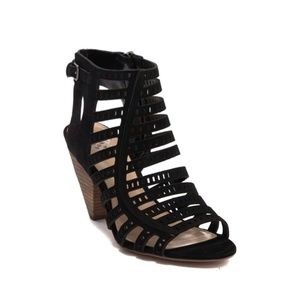 Vince Camuto Evalina Laser Cut Sandals Black